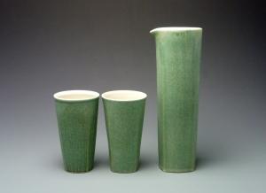 Carafe.tumblers.green
